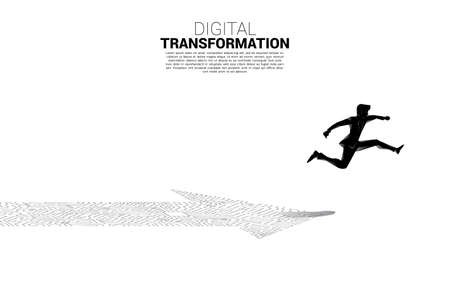 Silhouette of businessman jumping on the arrow dot connect circuit board style. concept of digital transformation of business. Illusztráció
