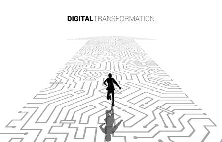 Silhouette of businessman running on the arrow dot connect circuit board style. concept of digital transformation of business.
