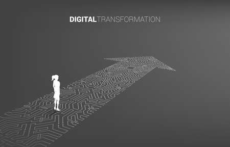 Silhouette of businesswoman standing on the arrow dot connect circuit board style. concept of digital transformation of business.