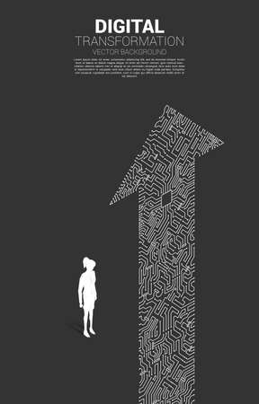 Silhouette of businesswoman standing with the arrow dot connect circuit board style. concept of digital transformation of business.