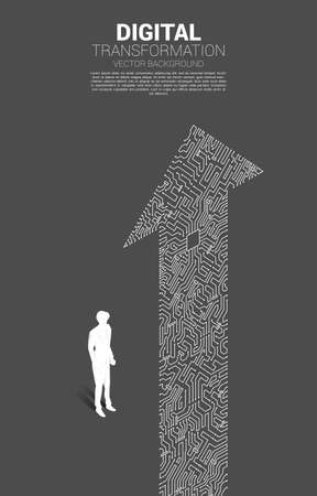 Silhouette of businessman standing with the arrow dot connect circuit board style. concept of digital transformation of business.