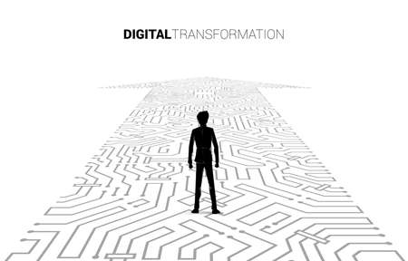 Silhouette of businessman standing on the arrow dot connect circuit board style. concept of digital transformation of business.