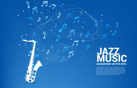 Vector music melody note flow with saxophone. Concept background for jazz song and concert theme.