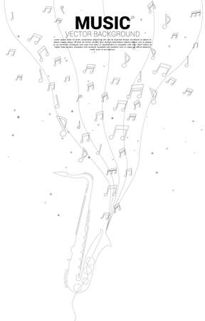 Vector music melody note dancing flow with one line saxophone. Concept background for jazz song and concert theme. Illusztráció