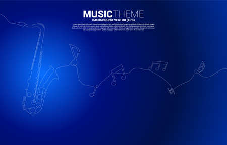 Vector music melody note from single line saxophone. Concept background for jazz song and concert theme.