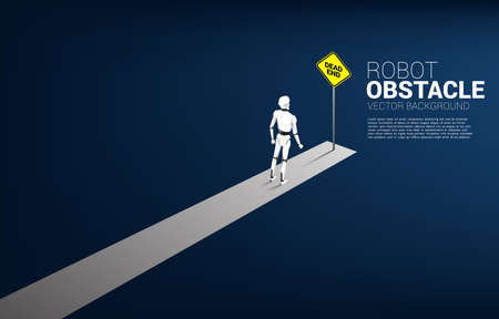 Robot standing with dead end signage . Concept of Obstacle of artificial intelligence.