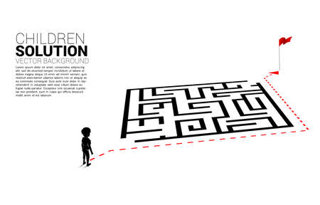 Silhouette of boy with route path go around the maze to goal. Concept of education solution and future of children.