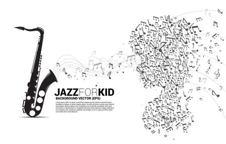 Vector saxophone and child from dancing flow shape music note . Concept background music for kid and children.