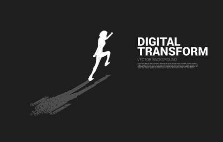 Businessman with shadow from digital dot pixel. business concept of digital transformation and digital footprint.