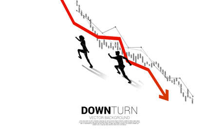 silhouette of businessman running opposite direction with downturn graph. Concept for fail and accidental business Vektoros illusztráció