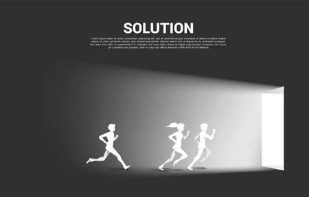Silhouette of businessman and businesswoman running to exit door. Concept of career start up and business solution. Illusztráció