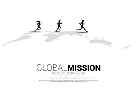 Silhouette of businessman and businesswoman running on world map. Business Concept of world target mission.