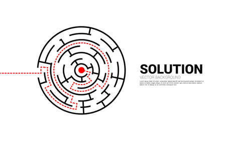 Arrow with route path to center of the maze. Business concept for problem solving and solution strategy