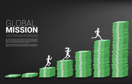 Vector silhouette of businessman and businesswoman run on column of money graph. Concept of risk , success and growth in business