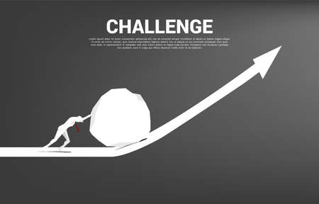 Silhouette of businessman pushing the big rock on growth graph. concept of business challenge and teamwork. Illusztráció