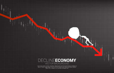 Silhouette of businessman pushing the rock rolling down.stop financial crisis . concept of business challenge and teamwork.