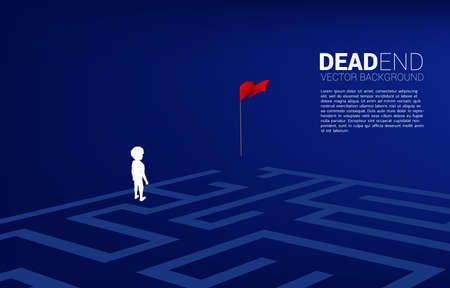 Silhouette of boy at dead end of maze. Concept of for problem and wrong decision.