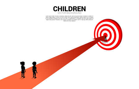 silhouette of boy and girl on route to center dartboard. Concept of education solution and future of children.
