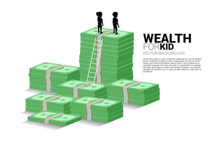 silhouette of boy and girl standing on stack of money with ladder. Concept of budgeting and wealth for kids. Illusztráció