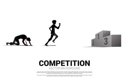 competition of silhouette of businessman and businesswoman running to the podium. business concept for people in competition