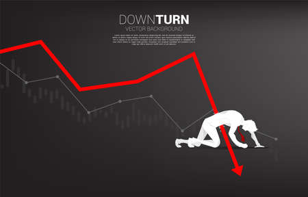 silhouette of businessman falling down from downturn graph. Concept for fail and accidental business Ilustración de vector