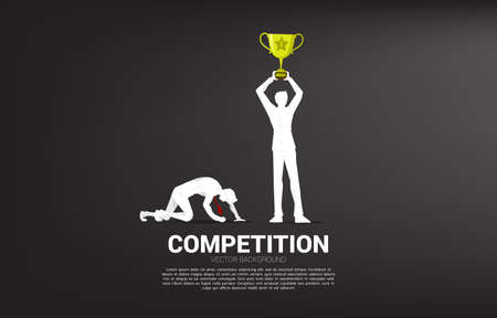 silhouette of winner with trophy and loser on knee. business concept for people in competition Illusztráció