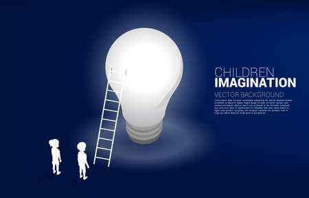 Silhouette of boy and girl with ladder to light bulb. Concept of education solution and future of children.