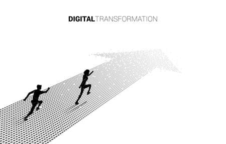 Silhouette of businessman running on the arrow from pixel. concept of digital transformation of business.