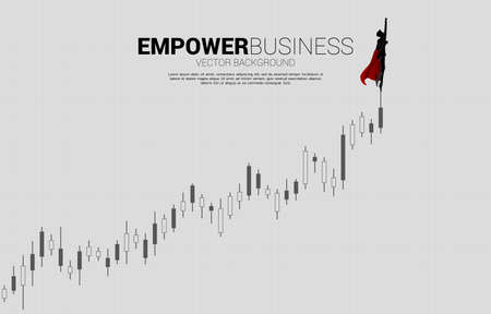 Silhouette of businessman flying to the growth candlestick graph. Business Concept for start up and fast growth company.
