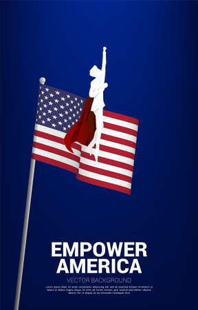 Silhouette of businessman flying with background USA flag. Business Concept for start up in united states.