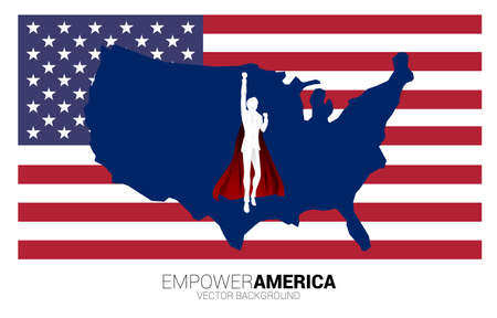 Silhouette of businessman flying with background USA flag and map. Business Concept for start up in united states.