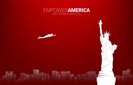 Silhouette of businessman flying with Statue of Liberty. Business Concept for start up in united states.