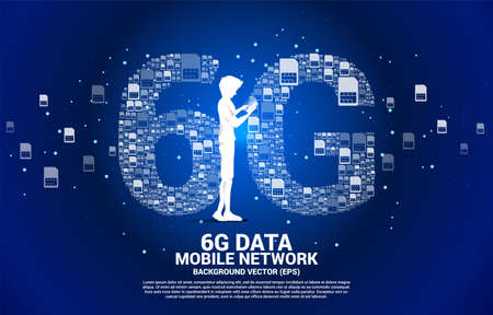 Silhouette of man use mobile phone with 6G from mobile sim card networking. Concept for mobile telecommunication global network.