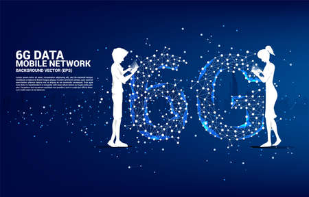 Silhouette of man and woman use mobile phone standing with Polygon dot connect line shaped 6G mobile network. Concept for mobile phone data technology.