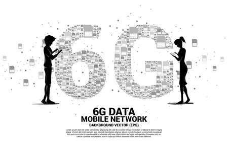 Silhouette of man and woman use mobile phone with 6G from mobile sim card networking. Concept for mobile telecommunication global network. Illusztráció