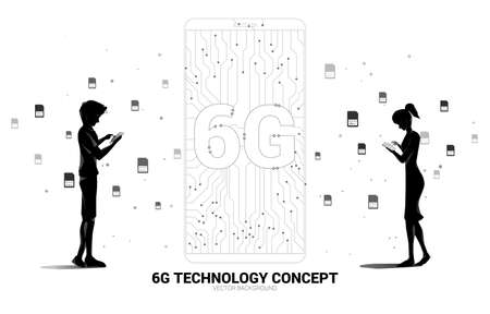 Silhouette of man and woman use mobile phone with 6G dot connect line circuit board style mobile phone icon. Concept for data transfer of mobile data network. Illusztráció