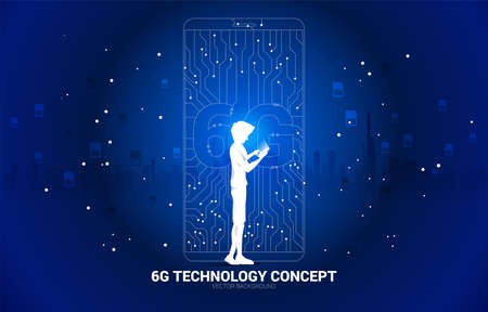 Silhouette of man use mobile phone with 6G dot connect line circuit board style mobile phone icon. Concept for data transfer of mobile data network.
