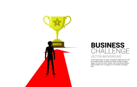 Silhouette of Businessman on Arrow move to golden trophy. Concept for business direction and mission vision