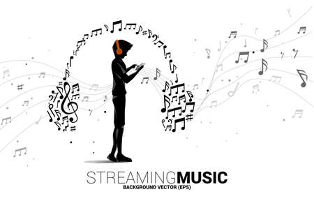 Vector silhouette man with mobile phone and headphone from music melody note dancing flow . Concept background for song and concert theme.