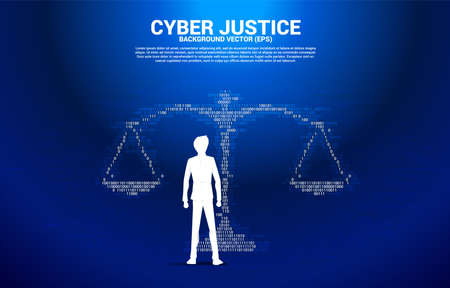 Silhouette of Businessman standing with Justice scale from one and zero binary code digit matrix style. Background Concept of cyber social judgment