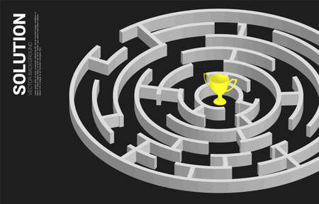 Golden trophy at center of maze. Business concept for problem solving and solution strategy