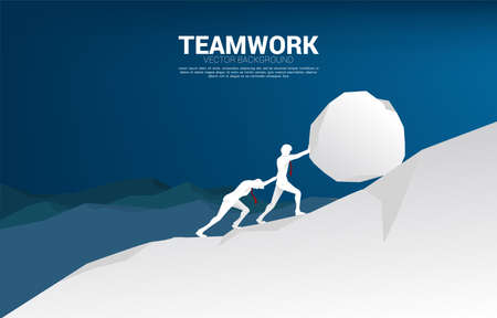 Silhouette of two businessman pushing the big rock to the top of mountain. concept of business challenge and hard work.