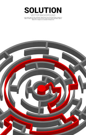 Arrow with route path to center of maze. Business concept for problem solving and solution strategy Illusztráció