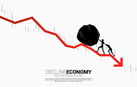Silhouette of businessman team pushing the rock rolling down.stop financial crisis . concept of business challenge and teamwork.