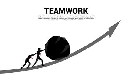 Silhouette of businessman team pushing the big rock on growth graph. concept of business challenge and teamwork.