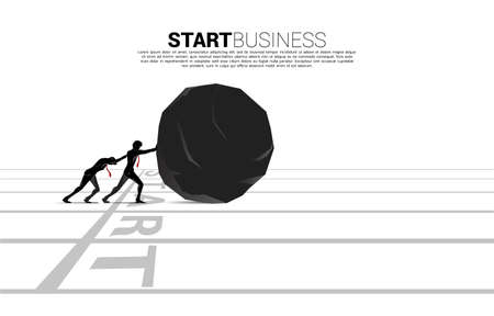 Silhouette of businessman pushing the rock from start line. Concept of business challenge and work hard.