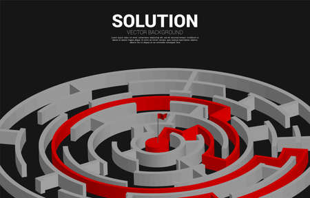 route path to center of the maze. Business concept for problem solving and solution strategy