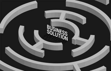 Business Solution at center of maze. Business concept for problem solving and marketing solution strategy