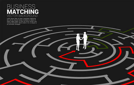 Silhouette of businessman handshake in the maze. Concept of business matching. Team work partnership and cooperation. Illusztráció