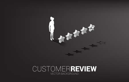 Silhouette businesswoman standing with 3D customer rating star. concept for client rating and ranking. Illusztráció